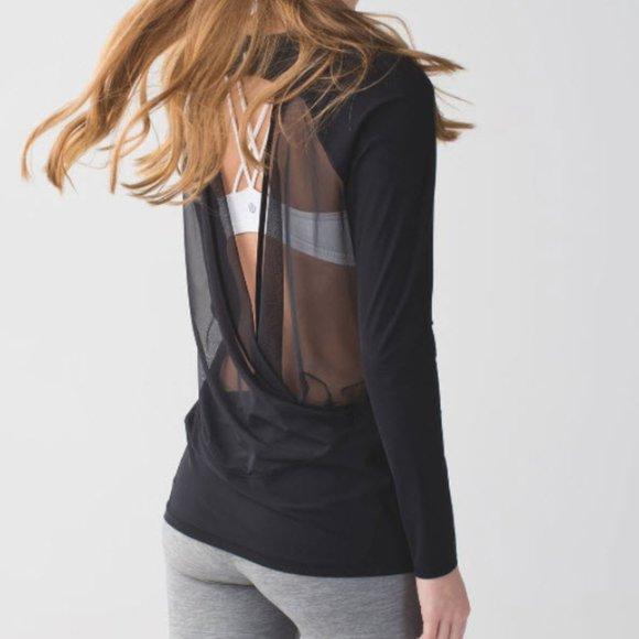 Lululemon tee long sleeve top mesh black sz 12 14